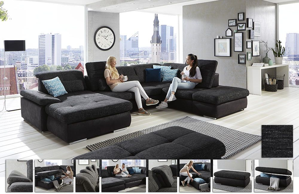 Artus von Megapol - Wohnlandschaft anthrazit-schwarz wohnz - big sofa oder wohnlandschaft