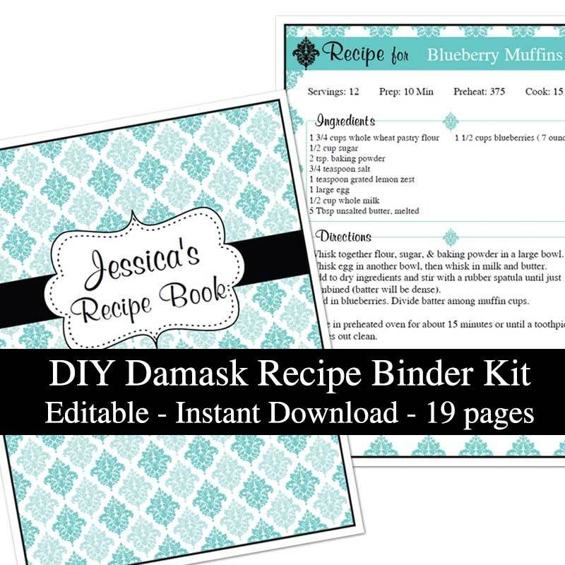 Blue Damask Printable Recipe Book Template Editable PDF