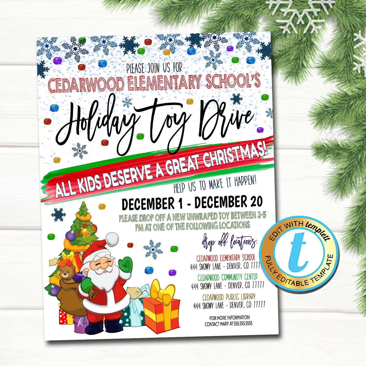 Holiday Toy Drive Event Flyer Printable Template In 2021 Toy Drive Christmas Toy Drive Flyer Christmas School