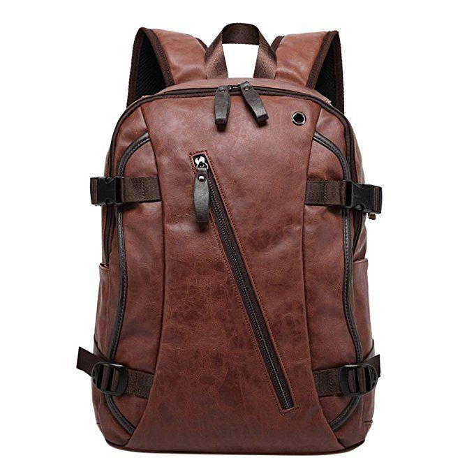 Bingirl Men Business Casual Backpacks for School Travel Bag Black PU Leather  Men s Fashion Shoulder Bags 198115cc2e