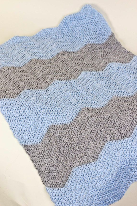Blue and Gray Chevron Crochet Baby Blanket | Manta, Mamá y Tejido
