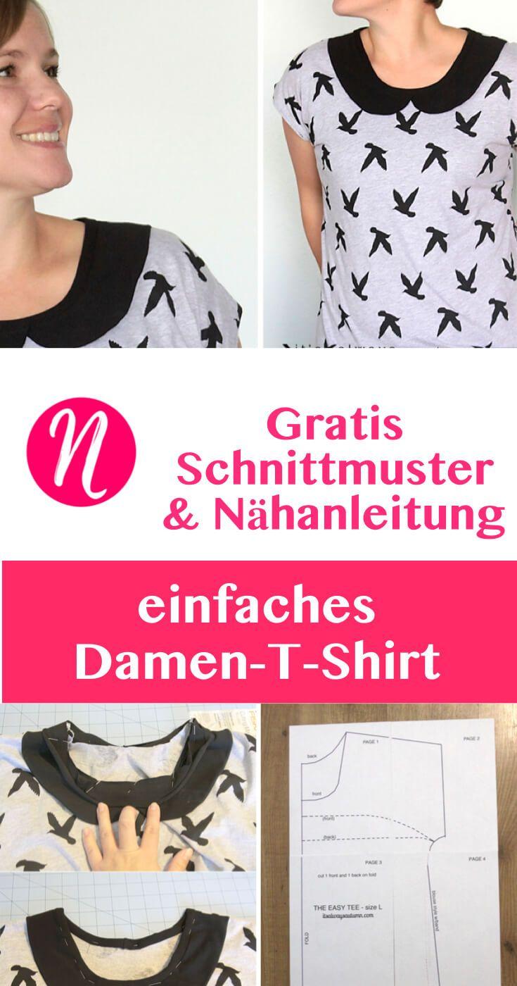 Einfaches T-Shirt für Damen zum selber nähen | Pinterest | Peter pan ...