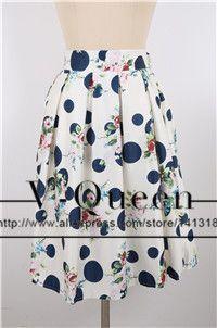 Samuume Fashion Polka Dots Printed Pleated Skirts Women 2017 Elastic High Waist Umbrella Midi Skirt Saias Faladas A148024