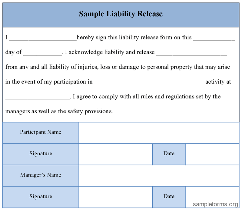 Printable Sample Liability Release Form Template Form | Laywers ...