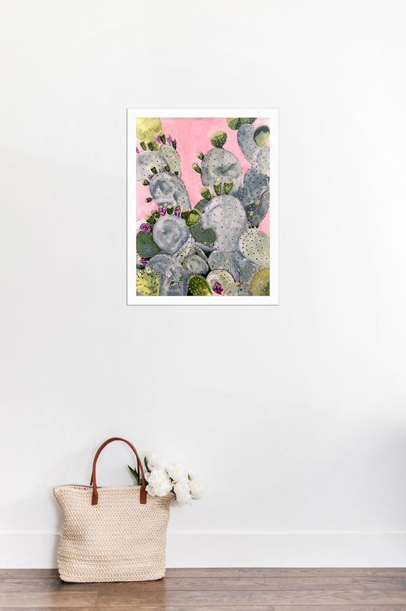 Cactus Painting Original Art on Paper-Gouache Painting-Prickly Pear Cactus