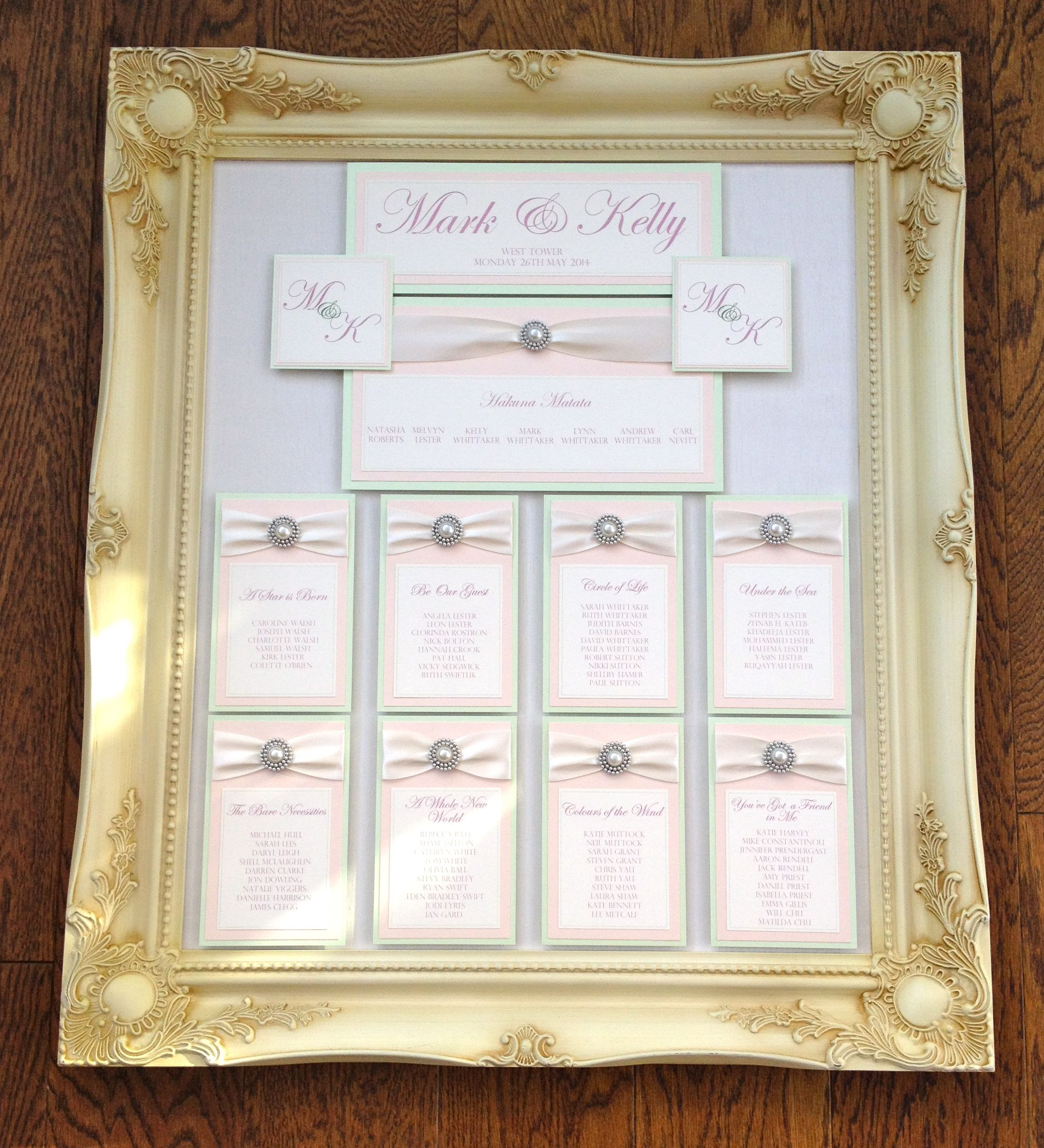 Ornate Frame | Fabric Covered | Ribbon | Pearl | Ivory | Pink | Mint ...