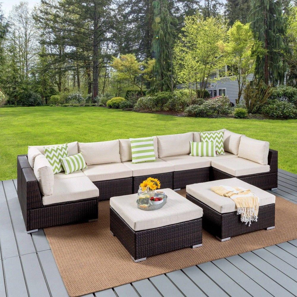 Santa Rosa 9pc Wicker Sectional Seating Set - Brown/Beige ... on Beachcroft Beige Outdoor Living Room Set  id=85591