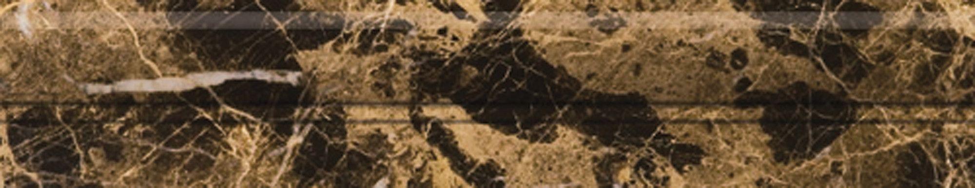 """Natural Stone 12"""" x 2"""" Polished Marble OG in Emperador Dark"""