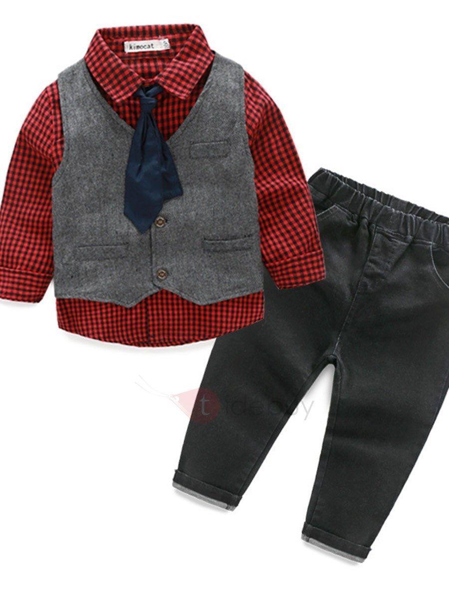 Conjunto de Camisa de Cuadrados y Pantalón para Niño  ec5120426fa4