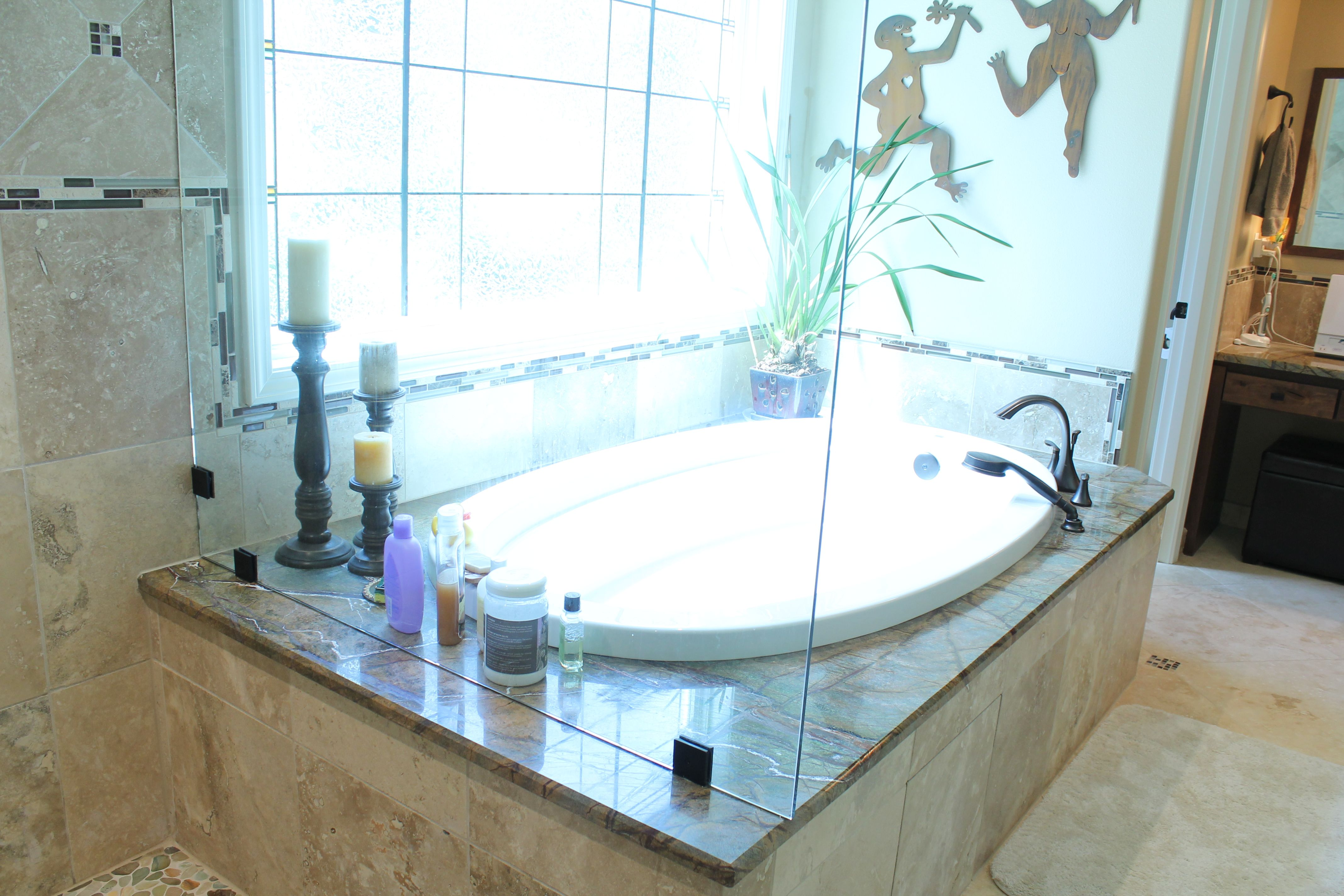 Take a look at this custom designed bathroom! Travertine floor and ...