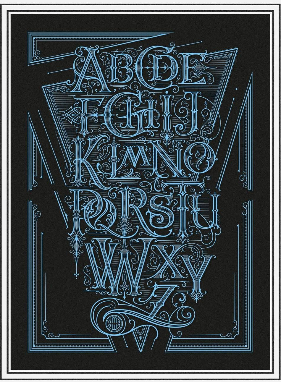 Traditional alphabet Graffiti lettering fonts
