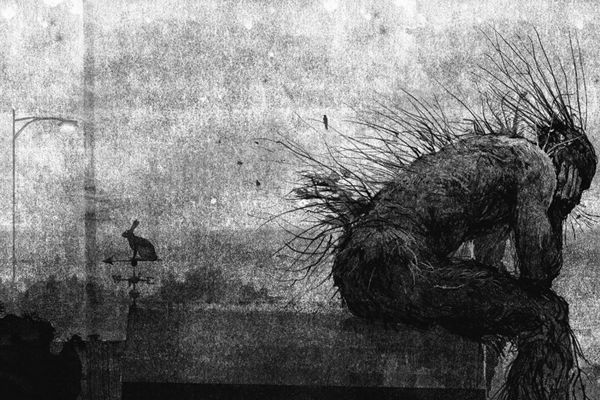 A Monster Calls Jim Kay Monster Sat On Roof