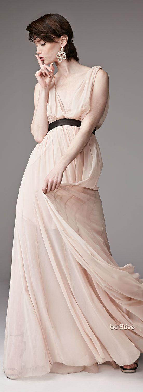 Alice + Olivia Kendrick Leather-Waist Chiffon Gown | My Style ...