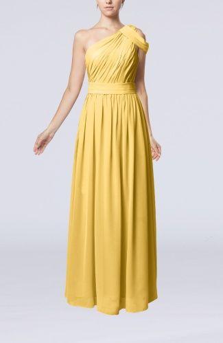 Gold Romantic Asymmetric Neckline Sleeveless Zip up Chiffon Floor Length Mother of the Bride Dresses - iFitDress.com