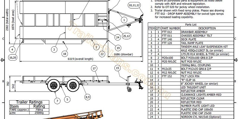 Kg Flatbed Tilt Trailer Trailer Plans Build Your Own - Trailer wiring diagram au