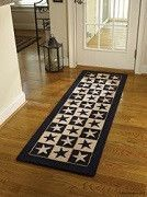 """Black Star Farm House """"Hooked Runner"""" ~ Wool hooked rug, design in washable poly loop yarn. Measures 24"""" x 72"""" inches."""