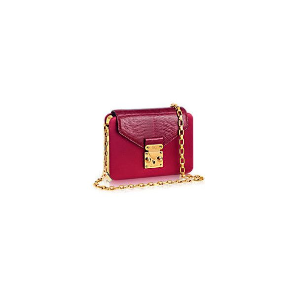 Minaudière Coffre ❤ liked on Polyvore featuring bags, handbags, clutches, leather handbags, real leather purses, purple purse, mini handbags and leather clutches
