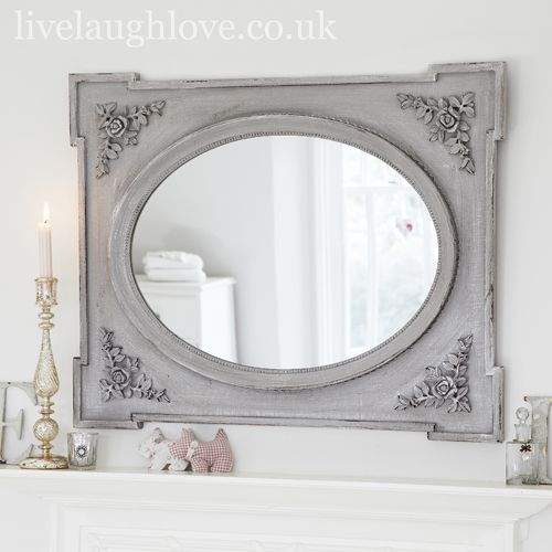 Shabby Chic Wall Mirror gray white shabby mirror | rose corner shabby chic  mirror-antique