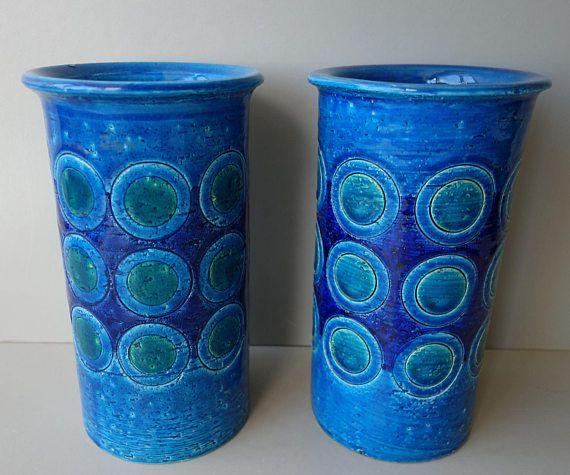 Pair Vintage Bitossi Hand Signed Numbered Vases Aldo Londi Rimini Blue Rare Circle Pattern Italian Ceramics 1950s 1960s Mid Century Modern Ceramic Workshop Italian Ceramics Ceramics