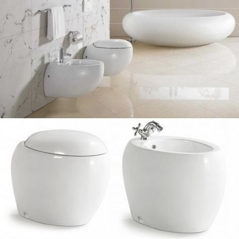 Sanitari ESTER wc bidet ovali a terra o sospesi filo muro con ...