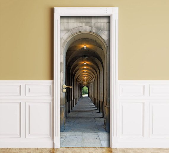 Sticker For Door Wall Fridge Archway Corridor With Etsy Archway Door Murals Outdoor Entryway