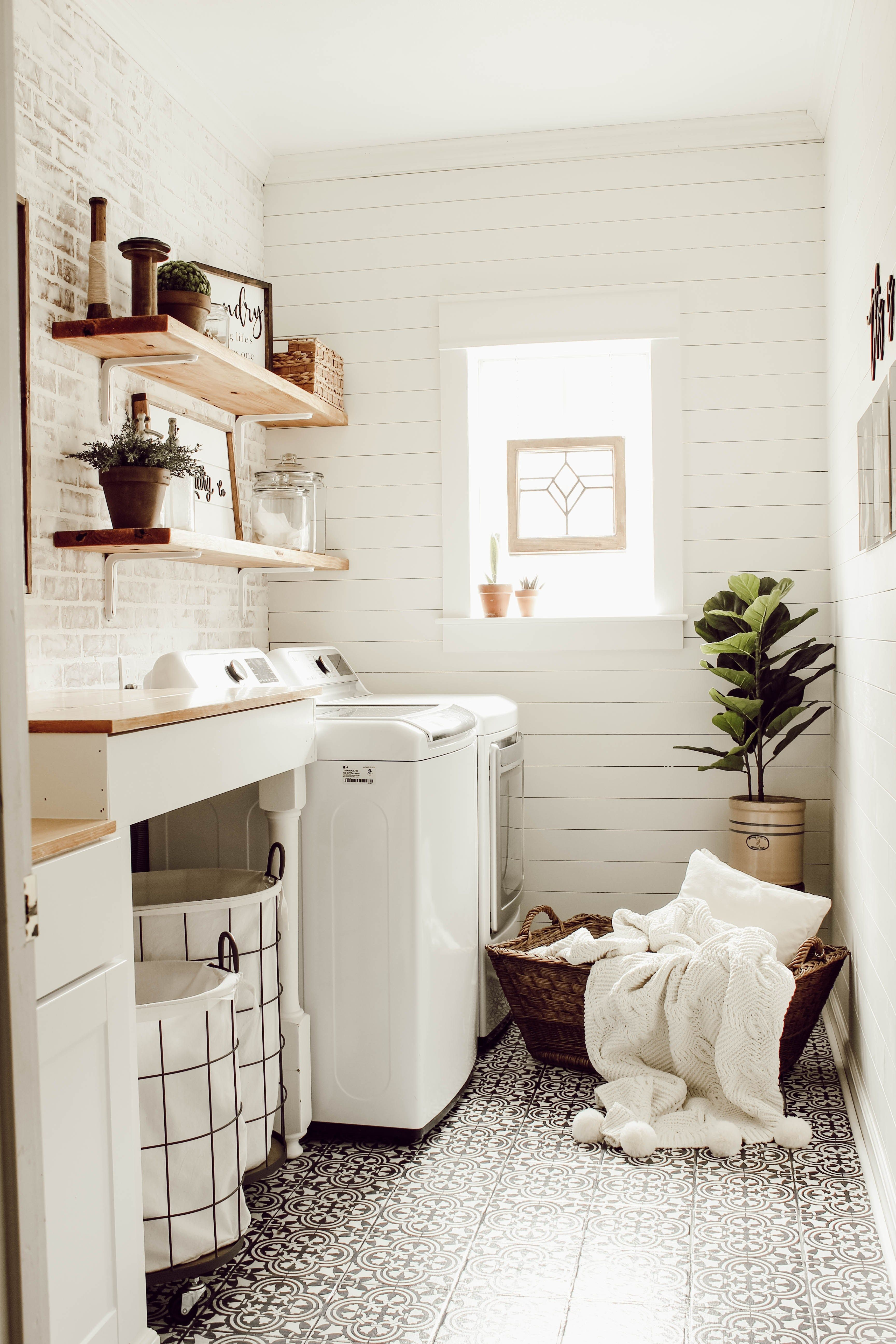 diy faux brick wall in laundry room faux brick walls on laundry room wall covering ideas id=66726