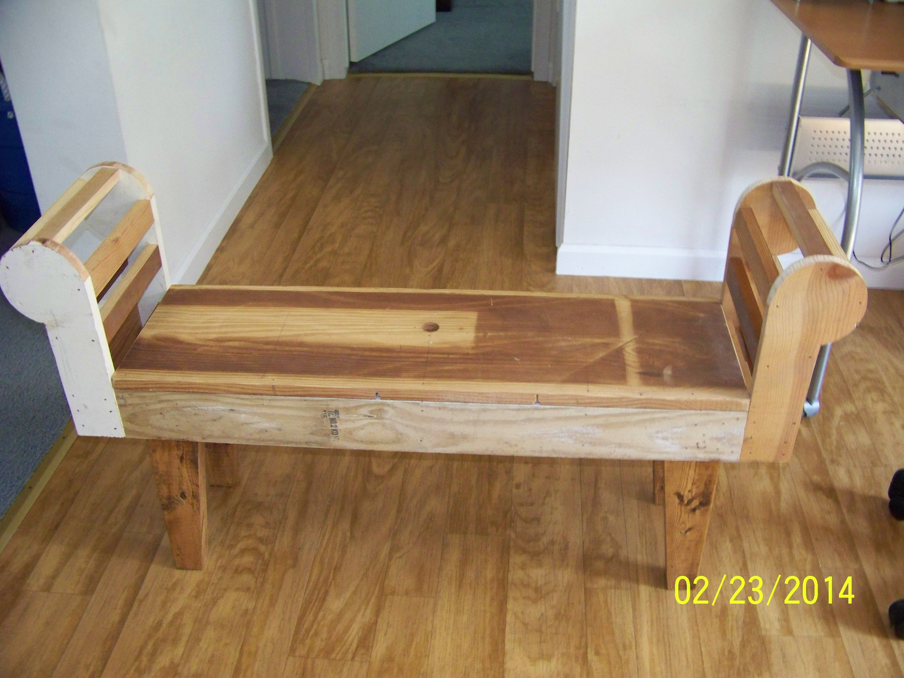 This Is The Frame For A Rolled Arm Bench That I Designed And My Dad Helped Me Build It It Is Made From All Scrap Material Diy Furniture Diy Ottoman Wooden