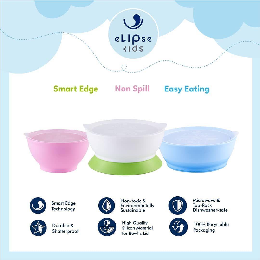 Elipse Kids Bukanlah Hanya Sebuah Desain Tetapi Teknologi Smart Edge Yang Digunakannya Dirancang Untuk Meminimalkan Tumpahan Mak Bowl Baby Shop Shatterproof