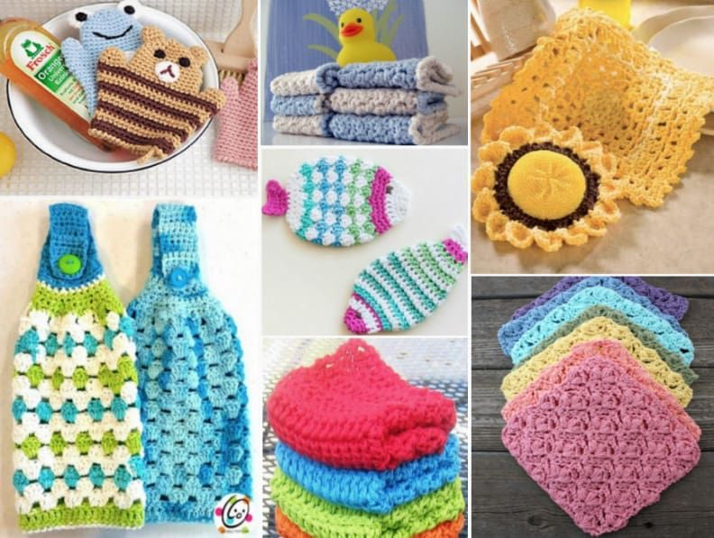 Dorable Los Patrones De Crochet Libre Para Scrubbies Cocina ...