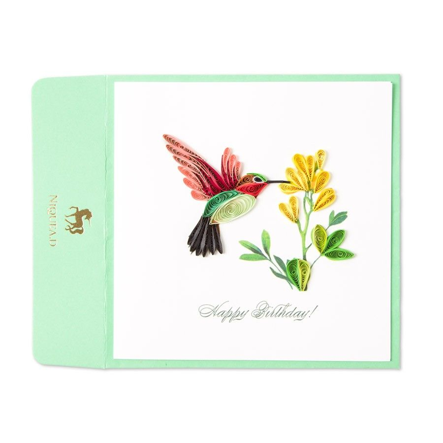 Quilled Hummingbird Birthday Card A Flower Flowers And Birthday Cards