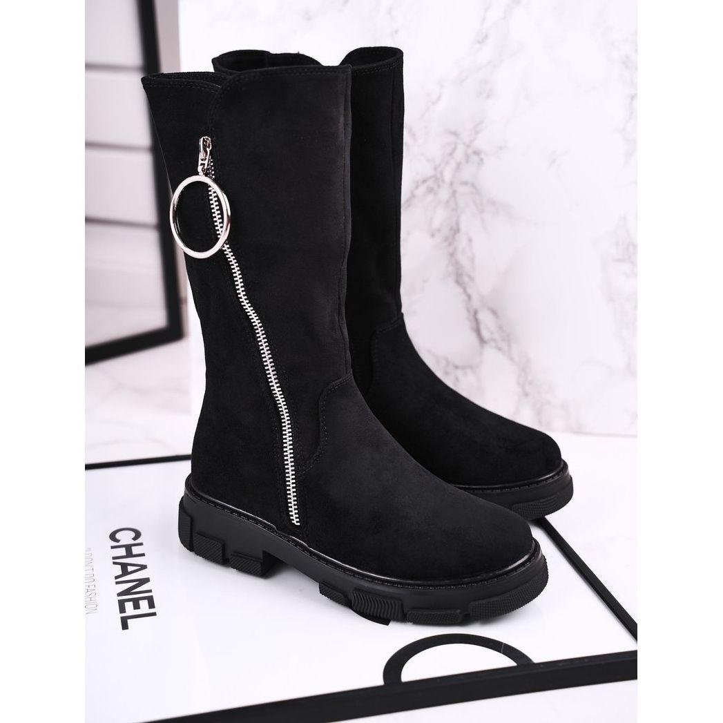 Apawwa Dzieciece Botki Wysokie Zamszowe Ocieplane Czarne Norabel Shoes Wedge Boot Boots
