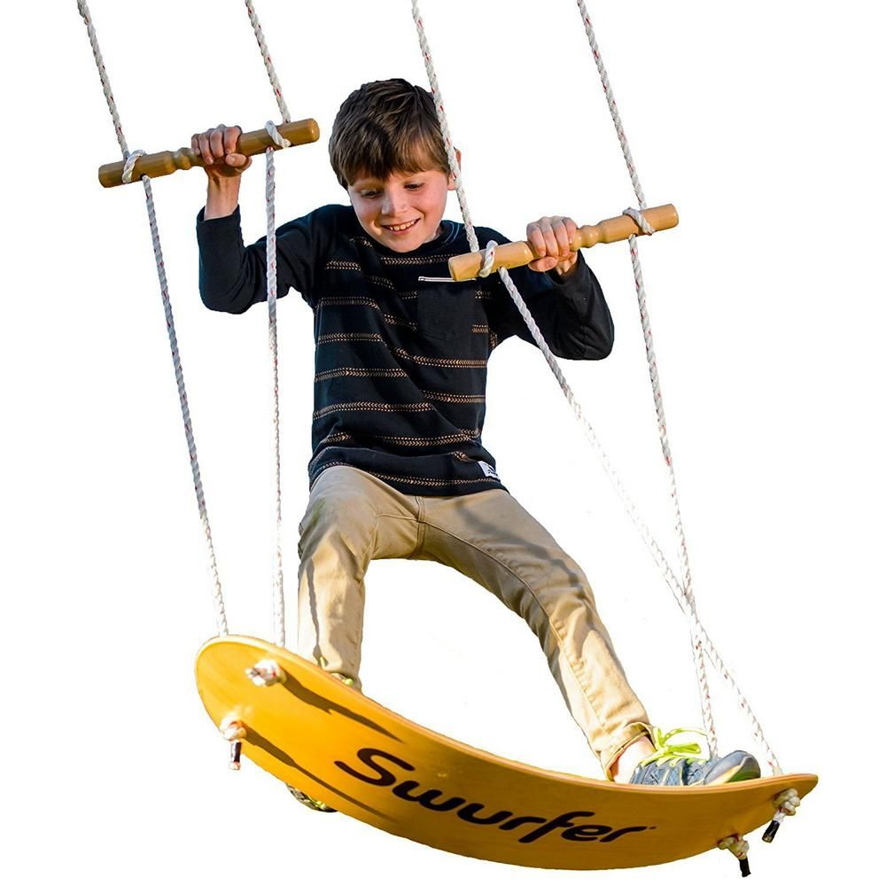 Swurfer Swing Board Stand Up Wood Tree Swing With Rope Sw001 The Home Depot In 2020 Kids Swing Stand Up Surf Skateboard Swing