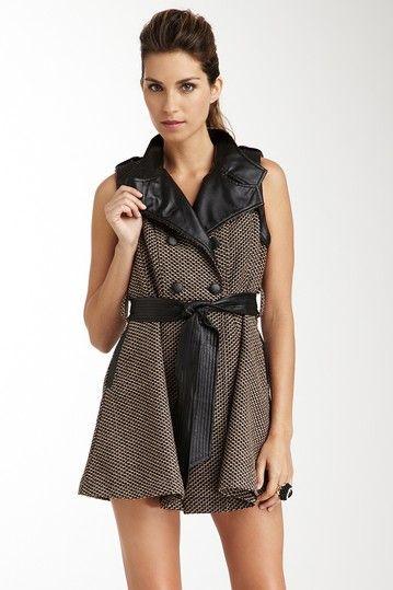 Sleeveless wool peacoat vest