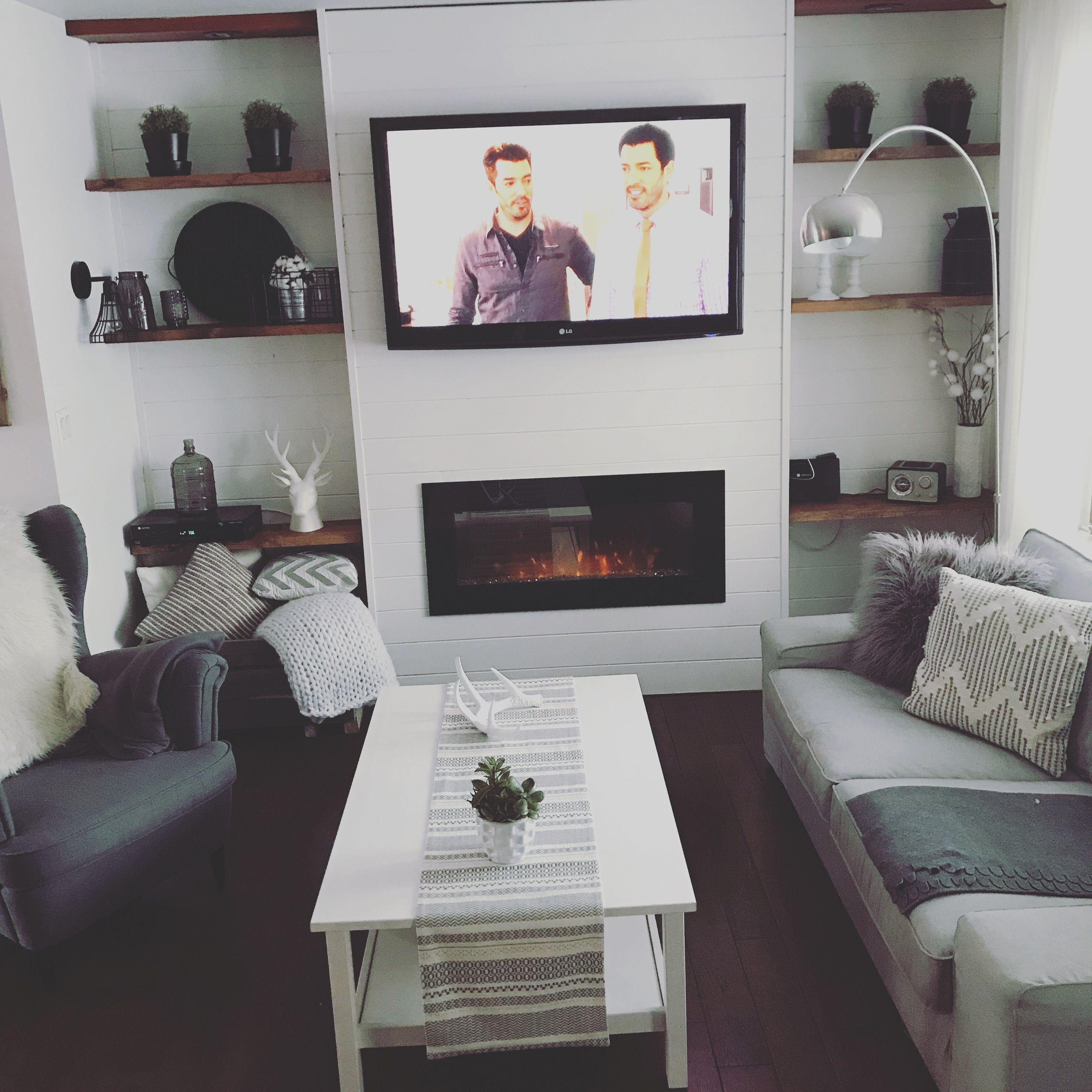 Living Room Electric Fireplace Modern Farmhouse Elec