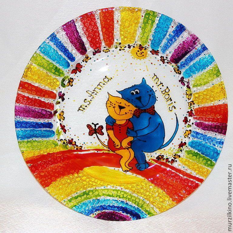 Купить Тарелка Мурзилкины обнимашки 20 см - коты, котовасия, посуда для кухни, тарелка в подарок