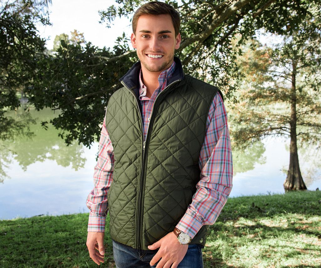 hunter green quilted padded quilt fur vest faux collar