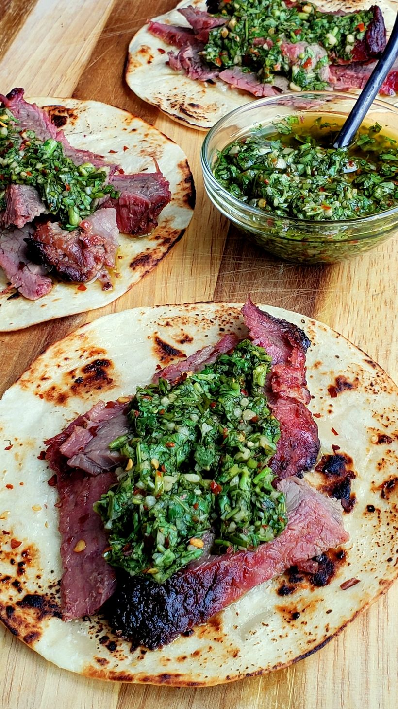 Flank Steak Tacos with Garlicky Cilantro Chimichurri