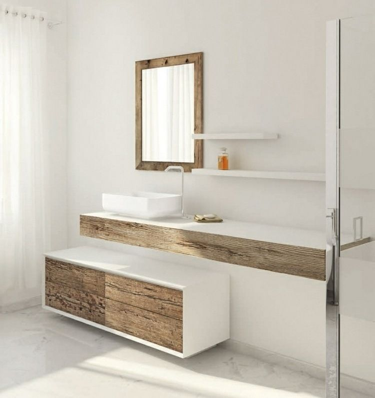 meuble vasque salle de bain en bois patin et blanc mat salle de bain bathroom modern. Black Bedroom Furniture Sets. Home Design Ideas