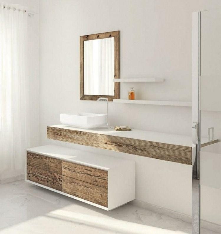 meuble vasque salle de bain en bois patiné et blanc mat | condos ... - Salle De Bains Blanche