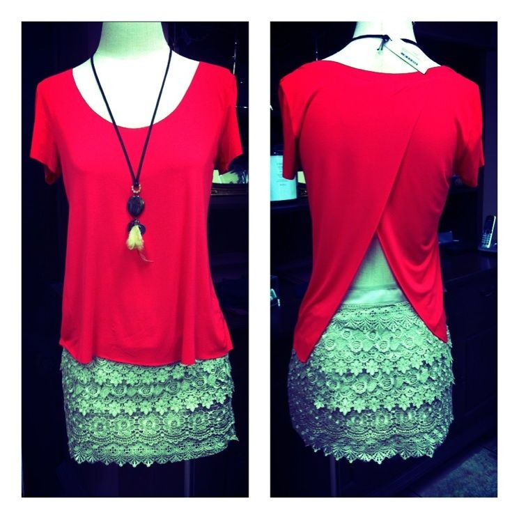 Open back tee + vintage necklace + lace = love!