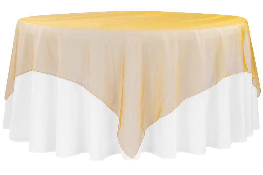 Organza 90 X90 Square Table Overlay Gold Antique Table