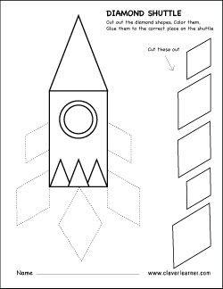 Diamond shape cut and paste activity for preschool