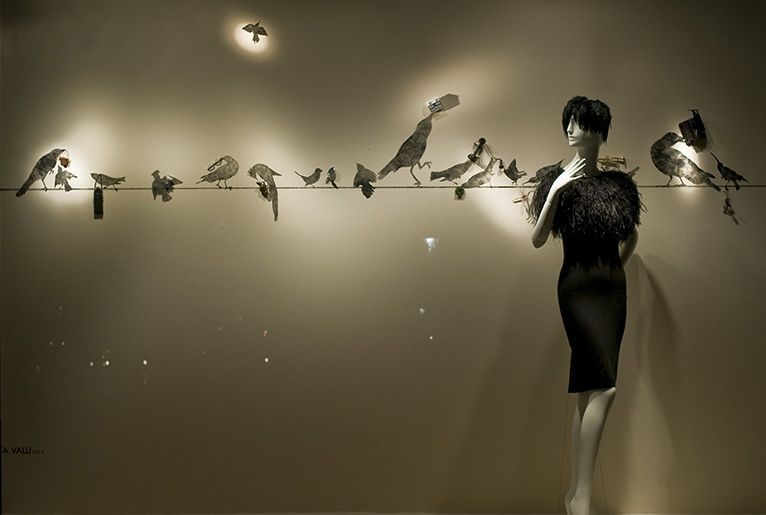 Sean Slaney *Work* | Bergdorf Goodman, stencil paintings of birds with...