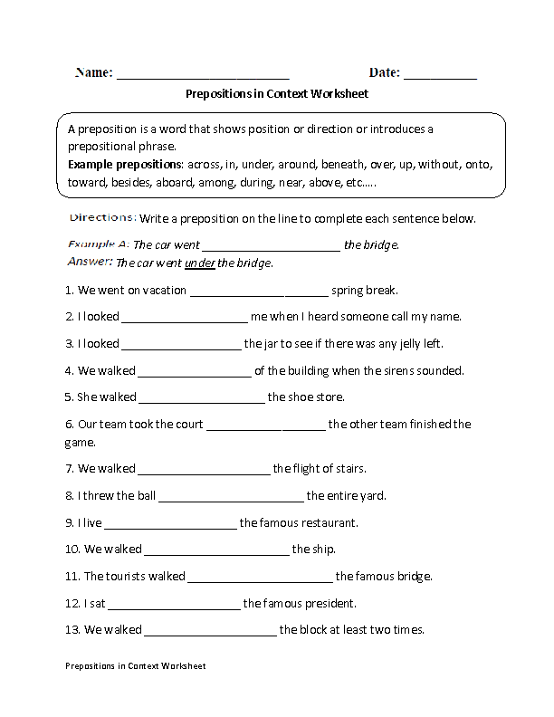 Printable Worksheets worksheets on prepositions for grade 1 : Prepositions in Context Worksheet | Kids - Homework | Pinterest ...