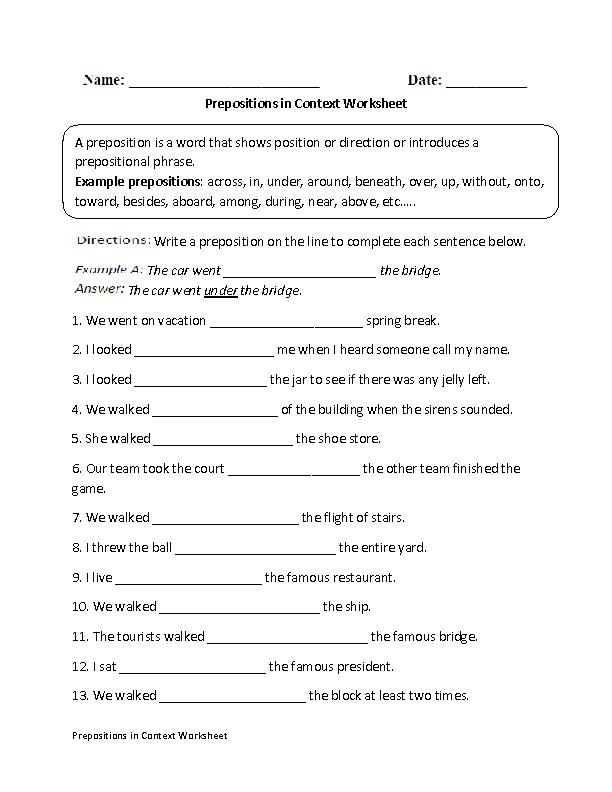 Prepositions in Context Worksheet | Englishlinx.com Board ...