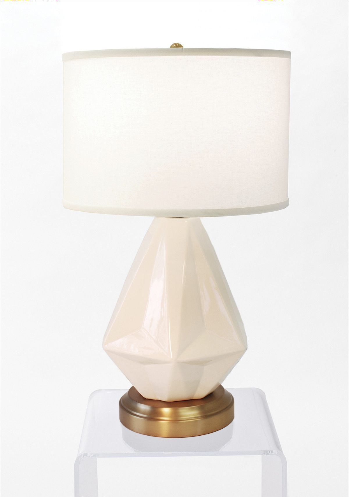 Prisma White on Brass Cordless Lamp Made in the USA
