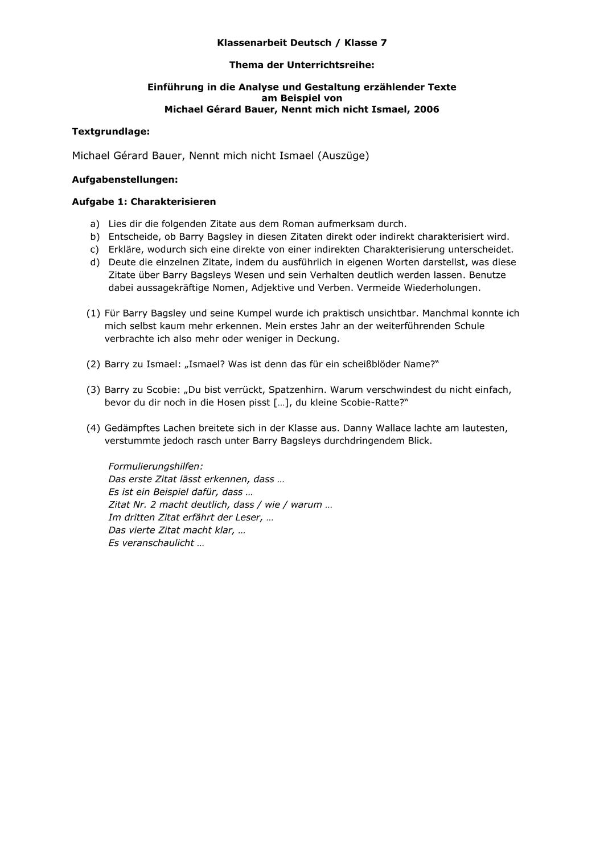 Klassenarbeit Deutsch Ismael Mit Bewertungsbogen Unterrichtsmaterial Im Fach Deutsch Klassenarbeiten Erste Klasse Aufgabenstellung