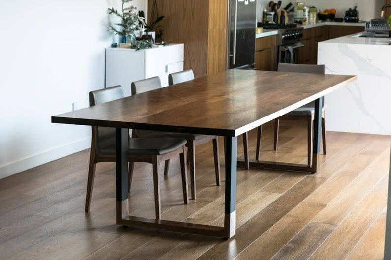 Walnut And Steel Expandable Dining Table Floating Etsy Expandable Dining Table Steel Dining Table Dining Table