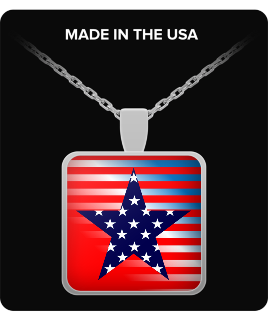 American Patriotic Pendant Necklace, Silver Plated