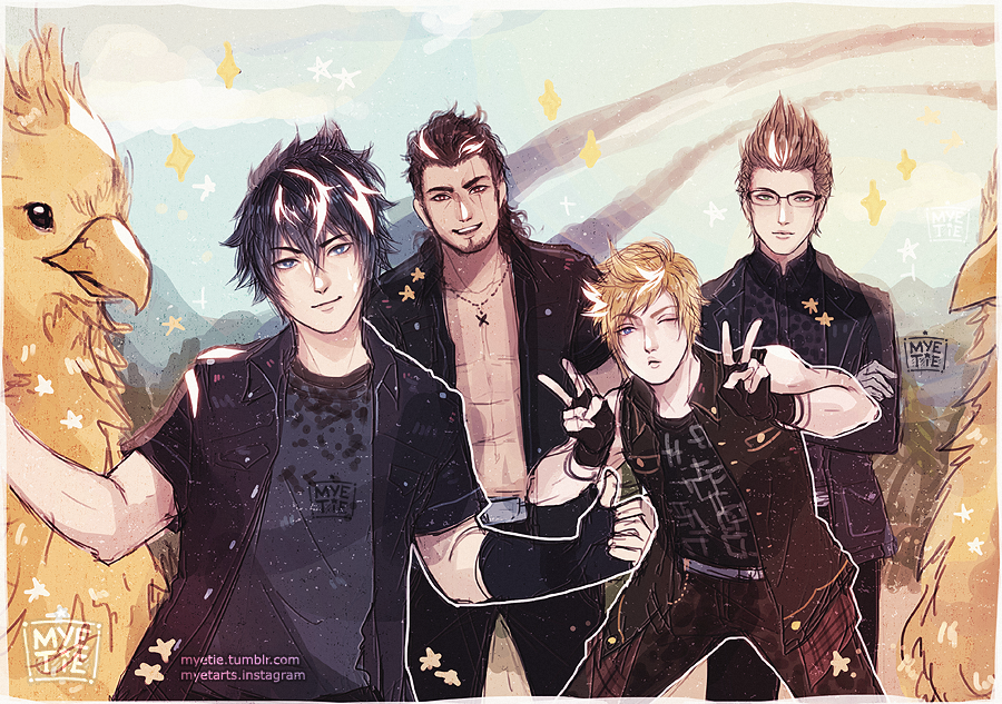 Noctis and the crew. FFXV  Credits to the artist